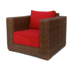 Wicker Paradise - Outdoor Wicker Chair Sunbrella Red Cushions - Patio Style - Deep seating for deep relaxation. This extremely stylish outdoor chair is made from woven polyethylene wicker on an aluminum frame, topped with ultra-plush 9-inch thick cushioning. Your favorite seat in the house might not be inside your house anymore.