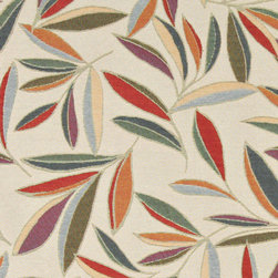 Red, Orange, Gold, Green and Blue, Foliage Leaves Contemporary Upholstery Fabric - This contemporary upholstery jacquard fabric is great for all indoor uses. This material is uniquely designed and durable. If you want your furniture to be vibrant, this is the perfect fabric!