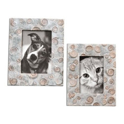 Uttermost - Uttermost 18566 Brown Spirula Spirula Picture Frames - Set of 2 - Stone look with ivories browns and grays.