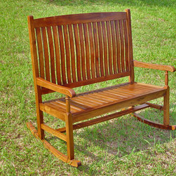 International Caravan - International Caravan Tradition Oil Finish Double Porch Rocker - Relax in luxury with this wooden porch rocker. Made of solid acacia hardwood and featuring a rich oil finish,this porch rocker is sturdy and absolutely beautiful. Put this on your patio and enjoy a smooth and charming rocking experience.