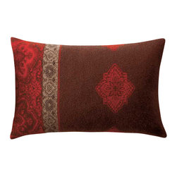 Happy Blanket - Boiled Wool Toile Pillow A TOILE2, Red - Wool is a natural temperature regulator, naturally hypoallergenic, naturally breathable and even improves sleep quality.