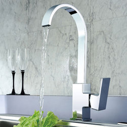 Dree Modern Design Single Handle Kitchen Faucet - This Dree single-handle faucet is a distinguished choice for any kitchen. High-arc spout swivels 360 Degree for complete sink access. Solid brass construction which ensures durability and longer life. Unique finishing process resists corrosion and tarnishing, exceeding industry durability standards.