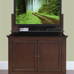 """Harrison TV Lift Cabinet For Flat Screen TV's Up To 46"""" - As seen on the TODAY show, the all new Harrison combines clean lines with a rich espresso finish to create a gorgeous cabinet with a contemporary twist. Indulge in the beauty and fine craftsmanship of this solid birch and birch veneer cabinet that features Touchstone's new exclusive built-in component shelf."""
