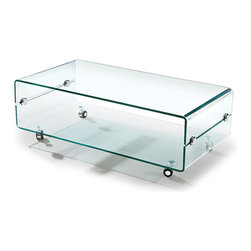 MODERN BENT GLASS COFFEE TABLE ON CASTERS SLIDE -