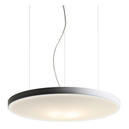 Luce Plan USA - Petale Circle Pendant - Petale Circle Pendant features a sound absorbing, ecophon organic form which conceals the magic of silence within. The body consists of a sound-absorbent panel upholstered in white fabric. Available in fluorescent or LED versions. One 10-watt, 120 volt 2GX11 base T5CIRC compact fluorescent bulb or one 18-watt, 120 volt LED module come included. Dimensions: 47.3W x 6H x 47.3L.