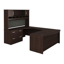 Bush - Bush Series C 4-Piece U-Shape Left-Hand Computer Desk in Mocha Cherry - Bush - Office Sets - WC12946PKG1 - Bush Series C 2 Drawer Lateral Wood File Cabinet in Mocha Cherry (included quantity: 1) Safe, secure and generous, the Bush Advantage Series C Two Drawer Lateral File Cabinet features a hefty size and a simple, neutral style. This luxury lateral filing cabinet is a bold and efficient addition to any executive suite. Features: