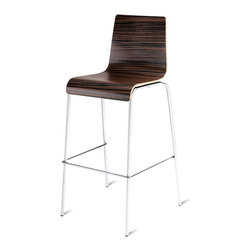 "Blu Dot - ""Blu Dot Barstool Barstool, Ebony"" - ""Because bars should never have to play second fiddle to tables, we offer the Chair Chair seat in both bar heights as well. Choose from ebony, graphite-on-oak, technical white oak or white on a chrome-plated base. Enjoy. Enjoy."""