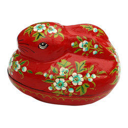 Souvnear Inc. - SouvNear Bunny Easter Egg Basket Cute Bunny Rabbit, Red - * The florid valley that embellishes Kashmir inspires the dazzling composition on this decorative Easter egg box