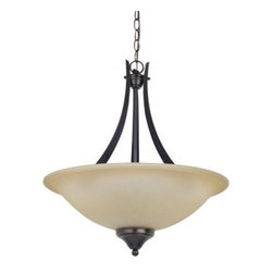 Sea Gull Lighting Brockton Fluorescent 3-Light Uplight Pendant - 20W in. Burnt S - You may not look at the Sea Gull Lighting Brockton Fluorescent 3-Light Up light Pendant - 20W in. Burnt Sienna and think of savings, but give it some time and wait until the bills come in. The first thing you'll notice is the striking look of the wide shade of amber scavo glass and the clean lines of the metal-bodied fixture. The deep brown finish glows in the warm light from a pair of 13-watt GU24 base bulbs. This ENERGY STAR-rated fixture includes 36 inches of hanging chain with 120 inches of lead wire, allowing you to find the perfect height and location in any space.