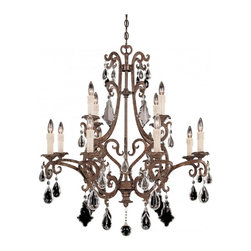 Savoy House - Florence 12-Light Chandelier - This sensational chandelier features curved hooks that gracefully dangle various crystal droplets. You get a wonderful shimmering effect as those droplets pick up the illumination from the nearby fixtures.