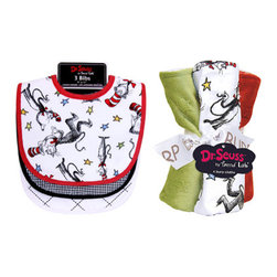 """Trend Lab - Bouquet Set - Dr. Seuss Cat In The Hat - Bib & Burp Cloth - Keep messes to a minimum with this stylish Dr. Seuss Cat in the Hat Bib and Burp Cloth Set by Trend Lab. Set includes three bibs and four burp cloths each with fun, modern printed cotton on the front and terry on the back. Bib patterns include: a scatter print of the classic book's Cat in the Hat character in barn red and black with cornflower blue, mango, avocado and yellow accents on a white background with red trim; black and white gingham seersucker with black trim; and a black and white diamond print with white trim. Burp cloth patterns include: one with a scatter print of the classic book's Cat in the Hat character in barn red and black with cornflower blue, mango, avocado and yellow accents on a white background, one black and white gingham seersucker, one with barn red star embossed velour and one with avocado star embossed velour. Each bib measures 9"""" x 12"""" with Velcro closure and each burp cloth measures 10"""" x 13"""". Bib and Burp Cloth Set coordinates with the Dr. Seuss Cat in the Hat collection by Trend Lab."""