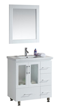 """Design Element - Design Element Stanton White Single Drop-in Sink Vanity Set - 30"""" - The Stanton 30"""" Single Sink Vanity Set is constructed with solid wood and provides a contemporary design perfect for any bathroom remodel. The ample storage in this free-standing vanity set includes four fully funtional drawers and a single double door cabinet each accented with brush nickel hardware. This cabinet is available in both an espresso and white finish as a complete set that includes a porcelain drop-in sink and matching framed mirror."""