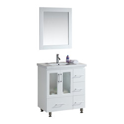 "Design Element - Design Element Stanton White Single Drop-in Sink Vanity Set - 30"" - The Stanton 30"" Single Sink Vanity Set is constructed with solid wood and provides a contemporary design perfect for any bathroom remodel. The ample storage in this free-standing vanity set includes four fully funtional drawers and a single double door cabinet each accented with brush nickel hardware. This cabinet is available in both an espresso and white finish as a complete set that includes a porcelain drop-in sink and matching framed mirror."