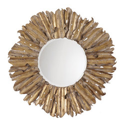 Starburst Gold Leaf Round Framed Mirror - I love the earthy look of this gold sunburst mirror. It's perfect for adding a glam element to a beachy retreat.