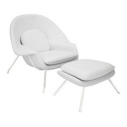 Reyna Lounger & Ottoman in White Leather - Inspired by mid-century modern design, this Reyna Lounge Chair & Ottoman are sure to draw you in and keep you seated in repose. Place them in the living room as a statement piece or keep it all to yourself in the bedroom or home office as your go-to relaxation station. Finely upholstered in white leather with stainless steel legs and protective foot caps to keep your floors pristine.