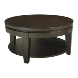 Sunpan Imports - Asia Round Espresso Finish Cocktail Table with Shelf - Round tables are believed to reinforce the stability of a grouping in feng shui decorating. The Asian cocktail table is also an inviting choice with its taper legs and lower display shelf. Recessed edging around the rim enhances a bold espresso-finished profile. One fixed shelf. Made from heavy ash and elm wood veneers. 35.5 in. Diameter x 17.5 in. HA solid and functional table that has striking presence.