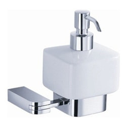 Fresca - Fresca Solido Wall Mounted Ceramic Soap Dispenser - All our bathroom accessories are imported and are selected for their modern, cutting edge designs. All accessories are made with brass with a quadruple chrome finish. All our accessories have been chosen to complement our other line of products including our vanities, steam showers, whirlpools, and toilets.