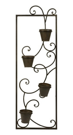 "IMAX CORPORATION - CKI Guenevere Wall Planter - Four 4"" pots climb in a stair step fashion up the wrought iron scroll design of the Guenevere Wall Planter. Designed exclusively by internationally acclaimed designer Carolyn Kinder. Find home furnishings, decor, and accessories from Posh Urban Furnishings. Beautiful, stylish furniture and decor that will brighten your home instantly. Shop modern, traditional, vintage, and world designs."
