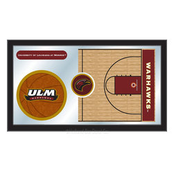 "Holland Bar Stool - Holland Bar Stool Louisiana-Monroe Basketball Mirror - Louisiana-Monroe Basketball Mirror belongs to College Collection by Holland Bar Stool The perfect way to show your school pride, our basketball Mirror displays your school's symbols with a style that fits any setting.  With it's simple but elegant design, colors burst through the 1/8"" thick glass and are highlighted by the mirrored accents.  Framed with a black, 1 1/4 wrapped wood frame with saw tooth hangers, this 15""(H) x 26""(W) mirror is ideal for your office, garage, or any room of the house.  Whether purchasing as a gift for a recent grad, sports superfan, or for yourself, you can take satisfaction knowing you're buying a mirror that is proudly Made in the USA by Holland Bar Stool Company, Holland, MI.   Mirror (1)"
