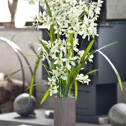 Silk Orchid Arrangement Dream - 2 stems of mass of white silk Dendrobium orchid blooms and dark color of the wooden vase add nice contrast and elegance to any space.