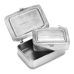 """Match - Match Box - Tutto e possibile - Small objects or desk accessories can be stored in this pewter box from Match. On the outside is engraved """"tutto e possibile"""" with the translation """"Anything is Possible"""" engraved on the inside.  Measures 4.5w x 3.1d x 1.2h."""