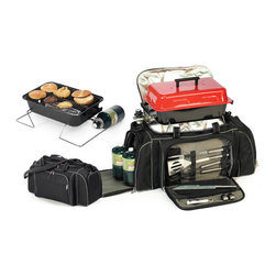 """Picnic Plus - Game Day Travel Grill Set, Black - Picnic Plus Game Day Gas Grill Travel Grill, Barbecue Set & Cooler Set, Black. Color/Design: Black; Portable propane gas grill; Including regulator; 4 stainless steel barbecue tools; fork, knife, spatula and tongs; Stainless steel salt & pepper shakers, bottle opener and oven mitt are also included; Large 600D polyester carry bag; With thermal foil insulated compartment to store the propane grill gas grill and can also be used as a cooler section; End panel storage pockets hold 2 propane tanks (not included); Premium quality complete grill set. Dimensions: 24""""W x 14""""D x 12""""H"""