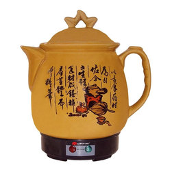 SPT Appliance - 3.4 L Ceramic Medicine Cooker w Stainless Hea - Intriguing Kanji, or Chinese characters, decorate this unique Asian style medicine pot.  Produce your own herbal remedies right at home with this cleverly designed cooker.  Stainless electric base features a detachable power cord, and the keep warm switch keeps your potions at just the right temperature.  Simply add your herbs and plain tap water and soon you'll have the perfect dosage amount for treatment. Ceramic material for best results. Stainless heater. Auto switch to Keep Warm. Detachable power cord . Input voltage: 120V / 60Hz. Power consumption: H-170W / L-120W / Warm 50W. Capacity: 3.4 liters. 8 in. Dia. x 11 in. H (5 lbs.)Chinese herbal medicine has been popular for many centuries. Sunpentown Medicine Cooker brings you the benefits of herbal medicine, but takes the hassle out of the once time-consuming process. Simply place the ingredients, prepared by you herblist, into the cooker and add the specified amount of water, plug in the unit and your medicine will automatically be reduced to one bowl, as prescribed! Automatically switches to Keep Warm.