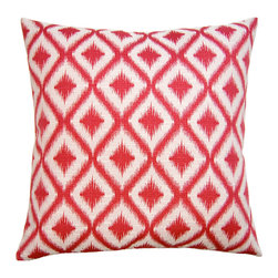 """Square Feathers - Unpocobusy Pink Diamonds Throw Pillow - Lively in the living room or bedroom, the Unpocobusy throw pillow features energetic diamond fretwork with on-trend ikat style. Finished with clean knife edges, the contemporary accent lends vibrancy in a bright pink and ivory colorway. Zipper closure. Includes 90/10 feather down insert. Dry clean only. Made in the USA from a cotton/polyester blend. 24""""W x 12""""H. 30""""W x 14""""H. 20""""W x 20""""H. 22""""W x 22""""H. 24""""W x 24""""H. 26""""W x 26""""H."""