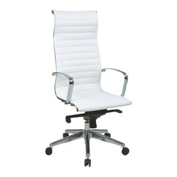 Office Star - Office Star High Back Eco Leather Chair in White - Office Star - Office chairs - 73023 - High back White Eco leather chair with Built-In Headrest Mid Pivot Knee tilt control and Polished Aluminum arms and base