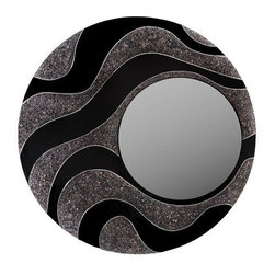 eUnique Decor - eUnique Decor 48 x 48 Mandan Black Wall Mirror - Waving streams of crushed pebble-like shell inlaid by hand with black gloss finish A place where you can express your true uniqueness through beautifully handcrafted pieces from the islands of the Philippines. eUnique invites you to explore their diverse selections of over scaled home decor all made of various natural elements including crushed stone elephant grass jungle vines and barks. Don't be afraid to reflect your wild side with their distinct accent mirrors wall decor lamps and vases. They offer a wide variety of unique accent lamps mirrors vases and wall decor. Their concept of over-scaled accent pieces are all handcrafted and have natural fibers as well as aluminum and brass and each have their own unique touch. Fertile forest soils in the islands of the Philippines make favorable growing conditions and allow the natural fibers used in their products to be renewed through natural regeneration. Their mission is to provide the best products and service to their customers at great prices. Specifications Color: Black Materials: Pebble-like shell.
