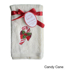 None - Embroidered Holiday Tip Towels (Set of 4) - Deck your halls with these festive tip towels--embroidered with Christmastime symbols and styled with holiday cheer. Your set of four matching towels arrives made in 100-percent Turkish combed cotton and brightly decorated for the season.