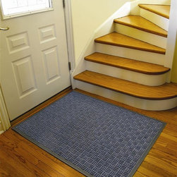 Notrax - Portrait Floor Mat (2' x 3' in Slate Blue) - Color: 2' x 3' in Slate Blue. 26 oz. decalon yarn. Minimal mat movement. Crisp non-directional pattern. Contemporary design. Molded rubber cleats on the underside of the mat grip underlying surfaces. Overall Thickness: 0.25 in.. Made from decalon yarn and rubber. 2' x 3' Size: 36 in. L x 24 in. W x 0.25 in. H. 3' x 4' Size: 48 in. L x 36 in. W x 0.25 in. H. 3' x 5' Size: 60 in. L x 36 in. W x 0.25 in. H. 3' x 10' Size: 120 in. L x 36 in. W x 0.25 in. H. 4' x 6' Size: 72 in. L x 48 in. W x 0.25 in. H. 4' x 10' Size: 120 in. L x 48 in. W x 0.25 in.Portrait features a stylish parquet pattern made with a tufted Decalon yarn that facilitates the scraping and drying process while a channel design traps moisture and debris. In addition, a raised rubber border on all four sides of the mat acts as a containment barrier ensuring that moisture and dirt is not carried further into the home. The low profile works well with narrow clearance doorways. Crisp non-directional patterns, contemporary designs, and aesthetically pleasing color choices complement any decor or setting making it the perfect entrance mat for any doorway.