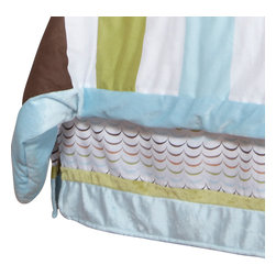 """Puppy Pal Boy - Full Bed Skirt - Puppy Pal Bed Skirt showcases """"One Grace Place"""" Doggy Dip Blue cotton print fabric trimmed in blue and green minky fabrics."""