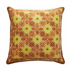"""Sadas Life - Bruket Collection Pillow, Brown and Chartruese, 20 X 20 - Handmade cap block motif melds traditional warm brown and gold tones in an elegant lattice pattern with border accent, zipper closure. 20"""" x 20"""", 18"""" x 18"""" (Pillow insert not included.)"""