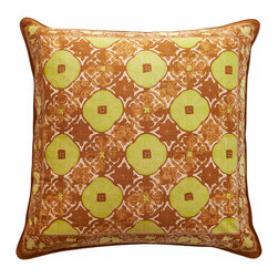 "Sadas Life - Bruket Collection Pillow, Brown and Chartruese, 20 X 20 - Handmade cap block motif melds traditional warm brown and gold tones in an elegant lattice pattern with border accent, zipper closure. 20"" x 20"", 18"" x 18"" (Pillow insert not included.)"