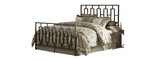 Fashion Bed - Fashion Bed Miami Metal Panel Headboard in Coffee-Queen - Fashion Bed - Headboards - B65445 - The Miami Headboard features an ultra modern style with clean lines and angular design. The grill comprises elongated vertical rectangles and has square tubing construction. Its warm coffee finish is virtually maintenance free and blends with almost any color scheme you may choose.
