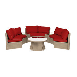 Reef Rattan - Reef Rattan Half-Moon 6 Pc Curved Bench Sofa Set - Natural Rattan / Red Cushions - Reef Rattan Half-Moon 6 Pc Curved Bench Sofa Set - Natural Rattan / Red Cushions. This patio set is made from all-weather resin wicker and produced to fulfill your needs for high quality. The resin wicker in this patio set won't fade, shrink, lose its strength, or snap. UV resistant and water resistant, this patio set is durable and easy to maintain. A rust-free powder-coated aluminum frame provides strength to withstand years of use. Sunbrella fabrics on patio furniture lends you the sophistication of a five star hotel, right in your outdoor living space, featuring industry leading Sunbrella fabrics. Designed to reflect that ultra-chic look, and with superior resistance to the elements in a variety of climates, the series stands for comfort, class, and constancy. Recreating the poolside high end feel of an upmarket hotel for outdoor living in a residence or commercial space is easy with this patio furniture. After all, you want a set of patio furniture that's going to look great, and do so for the long-term. The canvas-like fabrics which are designed by Sunbrella utilize the latest synthetic fiber technology are engineered to resist stains and UV fading. This is patio furniture that is made to endure, along with the classic look they represent. When you're creating a comfortable and stylish outdoor room, you're looking for the best quality at a price that makes sense. Resin wicker looks like natural wicker but is made of synthetic polyethylene fiber. Resin wicker is durable & easy to maintain and resistant against the elements. UV Resistant Wicker. Welded aluminum frame is nearly in-destructible and rust free. Stain resistant sunbrella cushions are double-stitched for strength and are fully machine washable. Removable covers made with commercial grade zippers. Tables include tempered glass top. 5 year warranty on this product. PLEASE NOTE: Throw pillows are NOT included