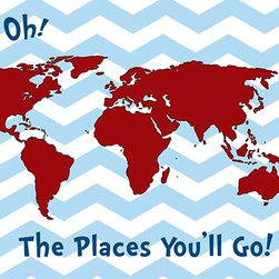 Oh How Cute Kids by Serena Bowman - The Places You will Go - Blue Chevron Red, Ready To Hang Canvas Kid's Wall Decor - Each kid is unique in his/her own way, so why shouldn't their wall decor be as well! With our extensive selection of canvas wall art for kids, from princesses to spaceships, from cowboys to traveling girls, we'll help you find that perfect piece for your special one.  Or you can fill the entire room with our imaginative art; every canvas is part of a coordinated series, an easy way to provide a complete and unified look for any room.