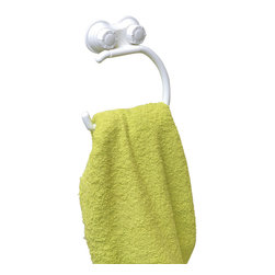 Towel Stand Round Shape on Strong Suction Cups Pp White - This towel stand is made of durable polypropylene and provides an adequate storage for towels. It features one swiveling round shape bar which keeps the towels off the floor and neatly organized. It has two extremely strong suction cups for a secure adhesion to bath tiles. Simply turn the suction cup buttons and hold firmly to your shower wall without any drilling, tools, or damage to your walls. Length of 5.7-Inch, depth of 1.25-Inch and height of 5.9-Inch. Wipe clean with soapy water. Color white. Easily organize and dry your bath towels with this towel stand! Complete your decoration with other products of the same collection. Imported.