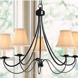 None - Black Iron 5-light Chandelier - Give any room in the house the illumination it deserves with this chandelierLight fixture features five sockets and uses 60-watt bulbsChandelier fixture displays a shiny black finish with yellow shades