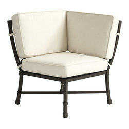 """Ballard Designs - Suzanne Kasler Directoire Corner - Includes Indoor/Outdoor Basic Stone Box Edge Cushion. Deep Chocolate finish. Powder-coated to resist rust, fading & chipping. Coordinates with the Suzanne Kasler Directoire Dining & Lounge Collections. Fully assembled. In this timeless collection, designer Suzanne Kasler captures the simple, elegant spirit of the Directoire style with classic """"X"""" detailing and crisp contours. The Armless Corner works with the Left Arm and Right Arm Loveseats to create a sectional. Each Directoire piece is finely crafted of aluminum, making it extremely durable and easy to place. Armless Corner features: . . . . ."""