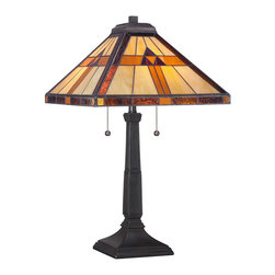 "Quoizel - Quoizel TF1427T Tiffany 2-Light Table Lamps in Authentic Bronze - Fans of the Prairie Movement, Frank Lloyd Wright, and American craftsman styles will love the 23""-high Bryant table lamp. Enhancing its classic design appeal are 112 pieces of neutral-toned art glass that are hand-assembled using the copper foil method developed by Louis Comfort Tiffany plus an Authentic Bronze Patina finish. Two 75-watt medium-base bulbs provide ample illumination."