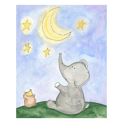 Oh How Cute Kids by Serena Bowman - Star Catcher - Elephant, Ready To Hang Canvas Kid's Wall Decor, 8 X 10 - Each kid is unique in his/her own way, so why shouldn't their wall decor be as well! With our extensive selection of canvas wall art for kids, from princesses to spaceships, from cowboys to traveling girls, we'll help you find that perfect piece for your special one.  Or you can fill the entire room with our imaginative art; every canvas is part of a coordinated series, an easy way to provide a complete and unified look for any room.