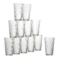 Argyle Tumblers Set of 12 - All-purpose tumblers with a tapered shape and optical argyle texture stock the buffet or bar at a great value.