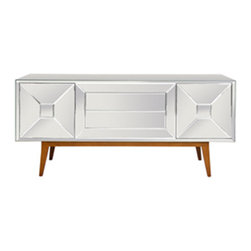 Worlds Away - Worlds Away Lawford 2 Door 2 Drawer Mirrored Console - Reflect your good taste with this sleek mirrored console, which comes on stylish midcentury tapered wood legs. This two door, two drawer credenza has a polished modern look to house your serveware with the utmost sophistication.