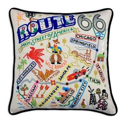 CATSTUDIO - Route 66 Pillow by Catstudio - Celebrate the states! These pillows from Catstudio's Geography Collection are delightful keepsakes for remembering the hometown you grew up in or commemorating your favorite vacation spot. Embroidered entirely by hand (over 35 hours go into each one!) with black velvet piping, these make the perfect gift for all occasions! Removable cotton cover and polyfill pillow form. Cover is dry clean only.
