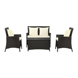 Flourish 4-Piece Outdoor Patio Sofa Set - Send a clear message of articulation to spaces otherwise filled with quietude. There is something most unique about this set. As the designer so intended, while the lower portion of each element is on an upswing, the upper areas are flat and leveled. Flourishes armrests and headrests are the outcome of momentum; but at the same time, do not show it in the slightest. Part of a movement to bring modernism into everyday life, Flourish is representative of a new approach to design and style. Comprised of woven UV resistant rattan and all-weather cushions, the aluminum frame is also powder-coated for extra protection against the elements. Flourish is perfect for patios, pool areas, resorts and other outdoor spaces.