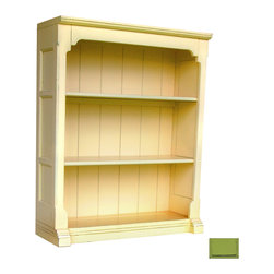 Tradewinds - Cottage Style Open Hutch / Bookcase, Green - Add functionality to your space with this well-made and practical cottage open hutch/bookcase. This wonderful furnishing piece featuring cottage furniture design can be used as a stand alone bookcase and accommodates B-100 storage baskets. It has two removable shelves plus the no crown molding on sides allows bookcases to be bunched in multiples.