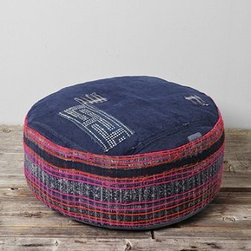 HYM Salvage X UO Large Round Pouf - This one-of-a-kind pouf made from vintage Vietnamese textiles is a charming piece to add warmth to your home.