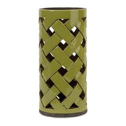 "IMAX - Morelia Large Cutwork Lantern - In a moss toned finish, the Morelia ceramic lantern features a lattice pattern handcrafted cutwork bodice great for pillar candles. Item Dimensions: (13.5""h x 6.25""w x 6.25"")"
